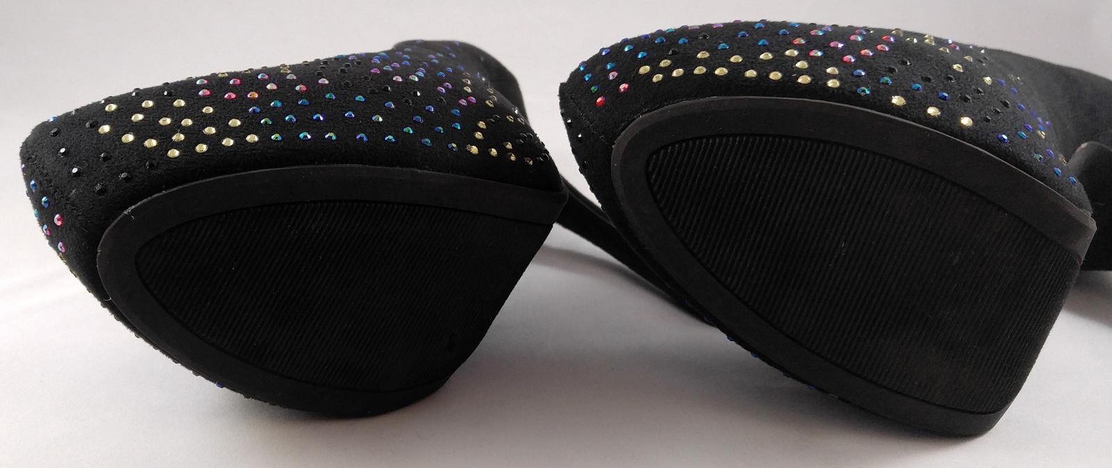Women's Brash Jeweled Black Vegan Suede Stiletto Heels Pumps Shoes Size 9 ½