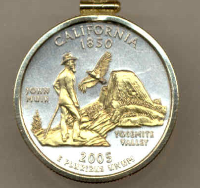 State of California,  2-Toned, Gold on Silver,Quarter Pendant Necklace