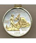 State of California,  2-Toned, Gold on Silver,Quarter Pendant Necklace - $85.00