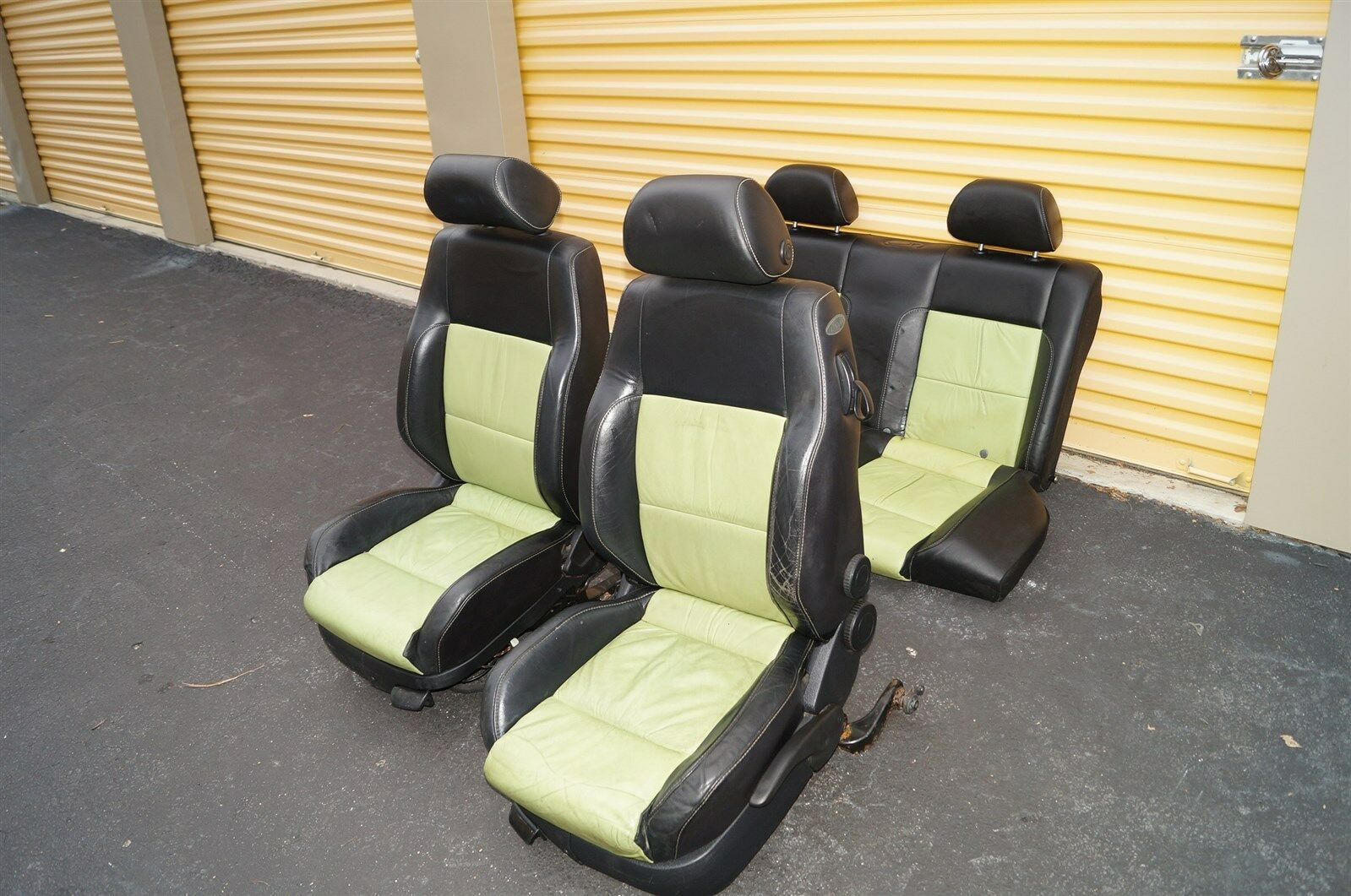 00-04 Volkswagen Vw Beetle Bug Hatchback Turbo GLS Leather Seat Set Green & BLK