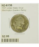 1941 United States Silver Washington Quarters Rating (G) Good - $2.85