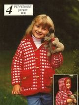 X472 Crochet PATTERN ONLY Child Size Peppermint Jacket with Hood Pattern - $7.50