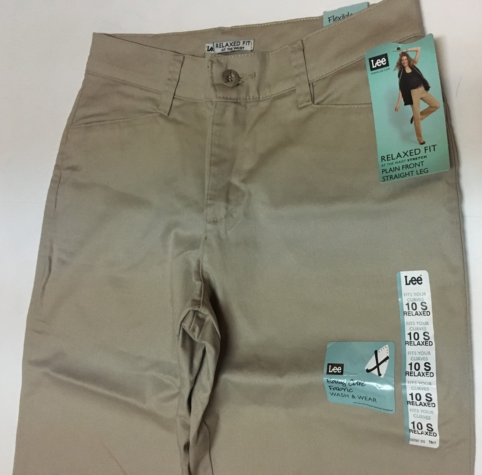 Lee Relaxed Fit Stretch Beige Pants Sz 10 Short Straight Leg NWT image 6