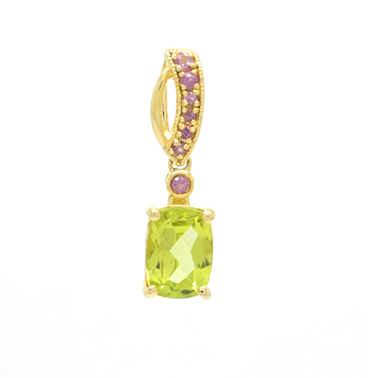 925 Sterling Silver Gold Tone Plated Genuine Peridot and Pink Topaz Pendant with