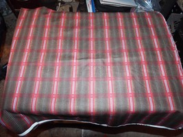 1 Yd Vintage Novelty Westminster Quilt Fabric Red Blue Plaid Dots on Brown - $5.09
