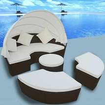 vidaXL Outdoor Lounge Set 2-in-1 Poly Rattan Wicker Sunbeds Daybed Garden - $503.99