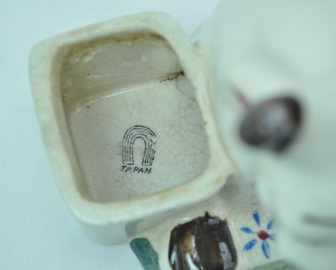 Vintage Cow Bull figurine planter Japan horseshoe stamp mark