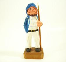 Sailor Fisherman with Spear Carved Wood Figurine Folk Art Hand Paint Nau... - $13.81
