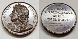1817 French Poet N Boileau Despreaux (1636-1711) PL Bronze Medal by Caunois F. - $124.99
