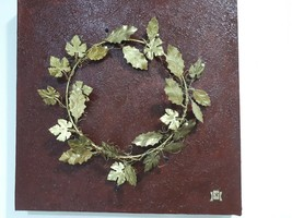 Wreath Handmade of Metal Brass With Tree Leaves 40 X 40 X 4 Unique on Panel - $81.01