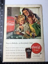 1949 Coke Ad Pause to Refresh at Everybody's Club Three Girls Soda Fountain - $7.80