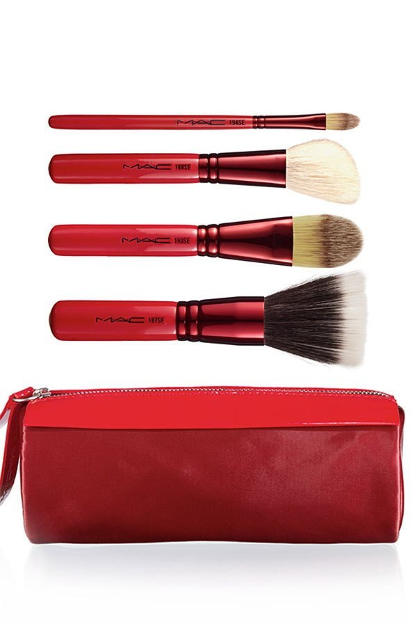 Primary image for MAC Cosmetics Adoring Carmine Makeup Face Brush Set Unboxed