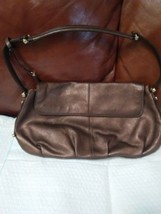 "Liz Claiborne Leather Shoulder Purse Bronze/Copper Color 13""x 8"" - $25.00"