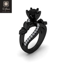 Classic Onyx White Diamond Accents Fancy Butterfly Design Bridal Ring Free Ship - $499.99