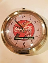 "Coca Cola retro Wall clock Your thirst takes wings 1999 11"" - £26.55 GBP"