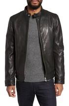 New Front Zip High Neck Men's Genuine Leather Jacket Slim fit Biker Biker jacket