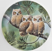 Knowles Three of a Kind Great Horned Owls Plate Joe Thornbrugh Baby Owls... - $29.70