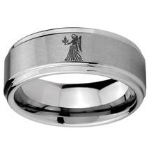8mm Virgo Zodiac Horoscope Step Edges Brushed Tungsten Wedding Engraving Ring - $39.99