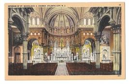 St Nicholas R C Church Atlantic City NJ Interior Altar Vintage Linen Postcard - $3.99