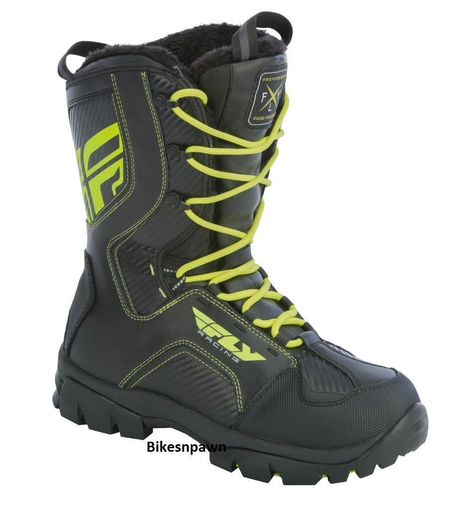 New Mens FLY Racing Marker Black/Hi-Viz Sz 9 Snowmobile Winter Snow Boots -40 F