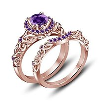 Round Amethyst Bridal Wedding Ring Set 14K Rose Gold Over .925 Sterling Silver - $129.99