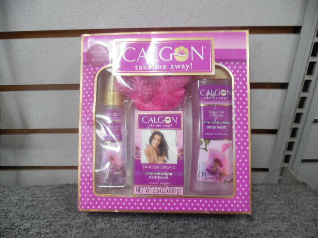 Calgon Tahitian Orchid 4 PC GIFT SET Body Mist & Wash Bath Bead Pouf NEW BOXED - $17.82