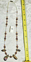 """Purple Amethyst Glass and Volcanic Rock Beaded Necklace 22""""           (#12) image 2"""