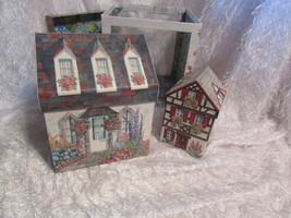vintage nesting boxes blue shades of cottages 3 in set shades of blue w/... - $14.03