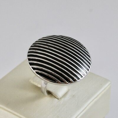 Ring Band Silver 925 Rhodium with Enamel Black Striped