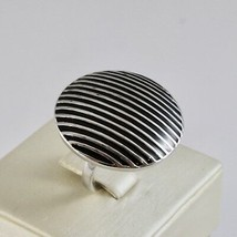 Ring Band Silver 925 Rhodium with Enamel Black Striped image 1