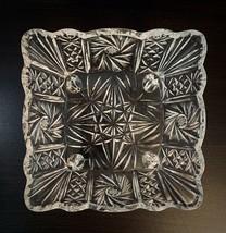 "Vintage Square Cut Glass Footed Bowl 8"" Pinwheel Star Starburst Pattern Sparkle! - $35.64"