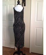 Sexy Carmen Marc Valvo Black and White Silver Beaded Cocktail Evening Dr... - $18.69