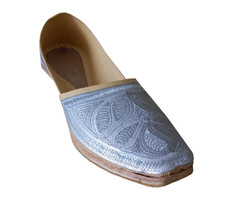 Men Shoes Traditional Handmade Leather Punjabi Espadrilles Cream Jutties US 8.5 - $39.99