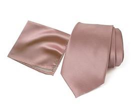 Spring Notion Men's Solid Color Satin Microfiber Tie and Hankerchief Set Pink Co