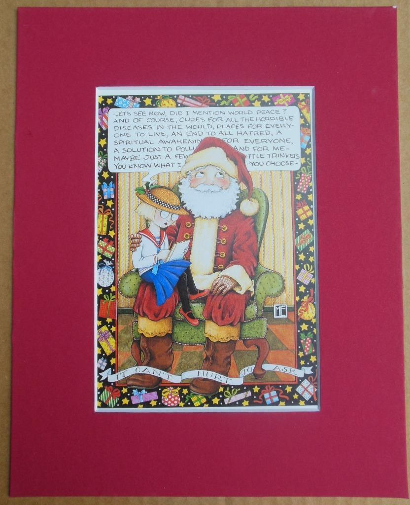 """Mary Engelbreit Print Matted 8 x 10 """"It Can't Hurt to Ask"""" Santa"""