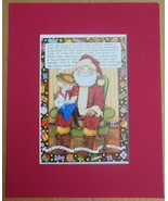 """Mary Engelbreit Print Matted 8 x 10 """"It Can't Hurt to Ask"""" Santa - $16.40"""