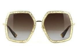Gucci GG0106S Glitter Gold/Brown Shaded (005 W) Sunglasses - $242.55