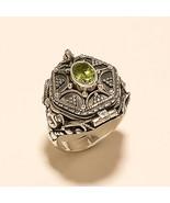 Natural Egyptian Peridot Poison Ring 925 Sterling Silver URN Locket Jewe... - $30.70