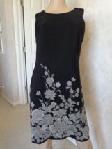 Donna Ricco of New York Black with White Flowers Size 8 Dress (#2958) - $16.99