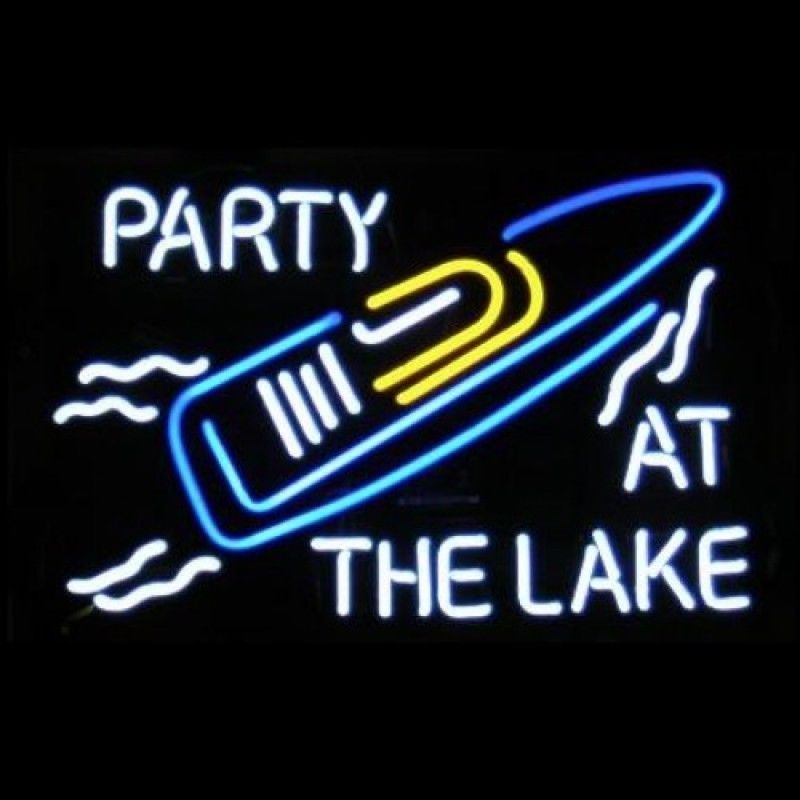 """New Lake Party Party At The Lake Boat Neon Sign 24""""x20"""""""