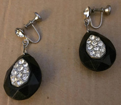 Vintage 1940s Embedded Austrian Rhinestones Faceted Black Celluloid Earr... - $84.94