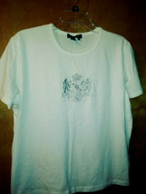 WOMENS RALPH LAUREN SILVER  EMBELLISHED POLO S/S T-SHIRT~WHITE~ XL - $7.92