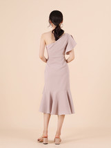A Line One Shoulder Midi Dress Summer Wedding Bridesmaid Dress, Dark Green Blush image 4