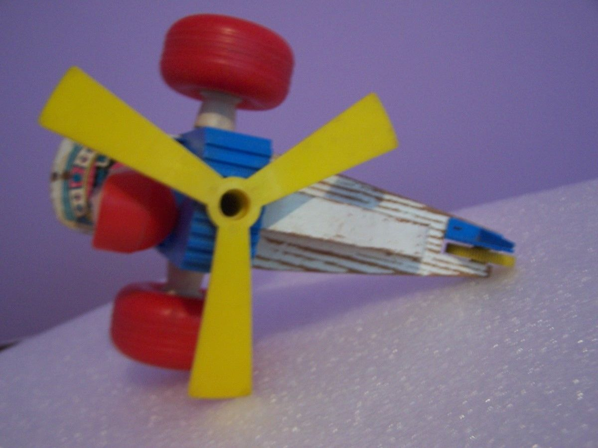 Vintage TRANSOGRAM Plastic & Wooden Pull Toy Helicopter