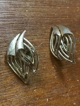 Vintage Trifari Signed Abstract Double Leaf Goldtone Clip Earrings – marked on  - $12.19