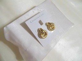 "Charter Club 1"" Gold Tone Knot Stud Drop Earrings S129 $32 - $11.51"