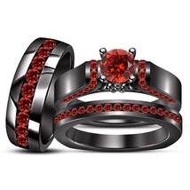 Mens & Womens Wedding Trio Ring Set 14k Black Gold Finish 925 Sterling Silver - $171.99