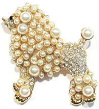 Poodle Big Dog Pin Brooch Clear Crystal Faux Beige Pearl Gold Tone Metal - $19.99