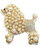 Poodle Big Dog Pin Brooch Clear Crystal Faux Beige Pearl Gold Tone Metal - €17,64 EUR