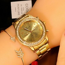 Women Classic Watch Geneva Full Steel Crystal Wristwatch Luxury Ladies W... - $6.32+